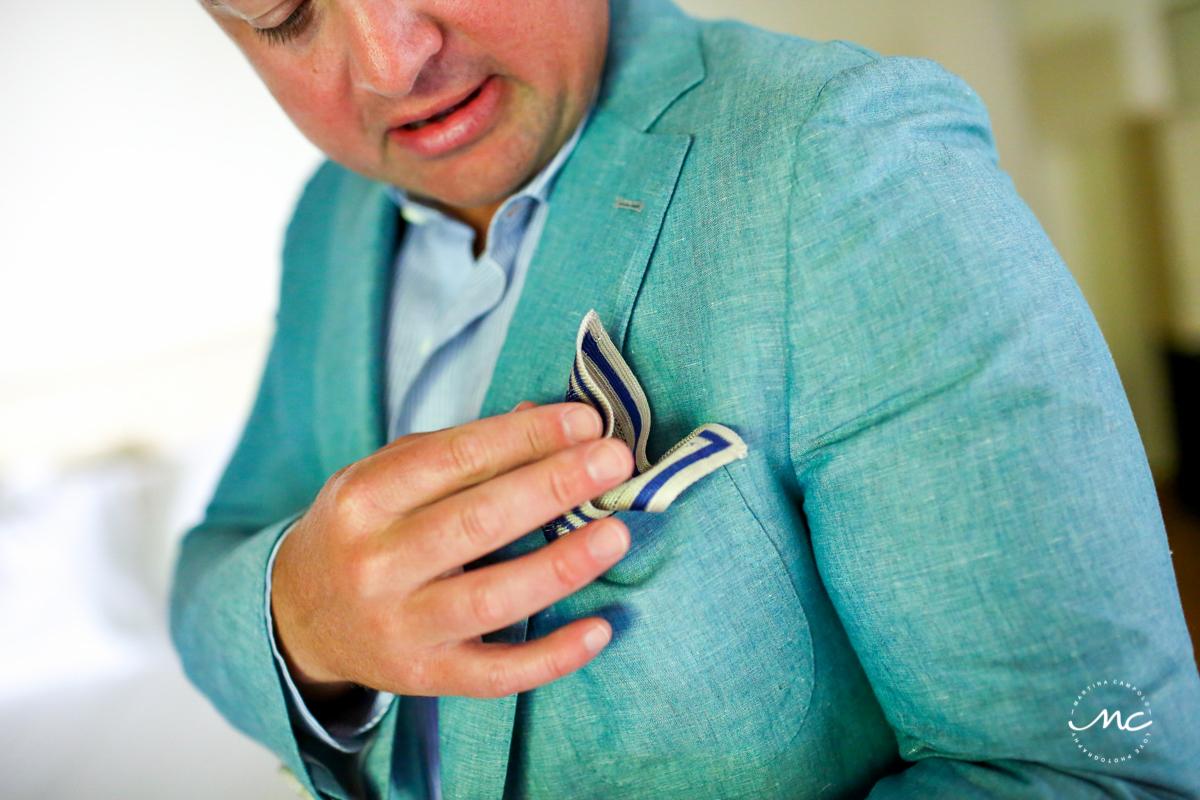 Groom getting ready at Blue Diamond Riviera Maya, Mexico. Martina Campolo Photography