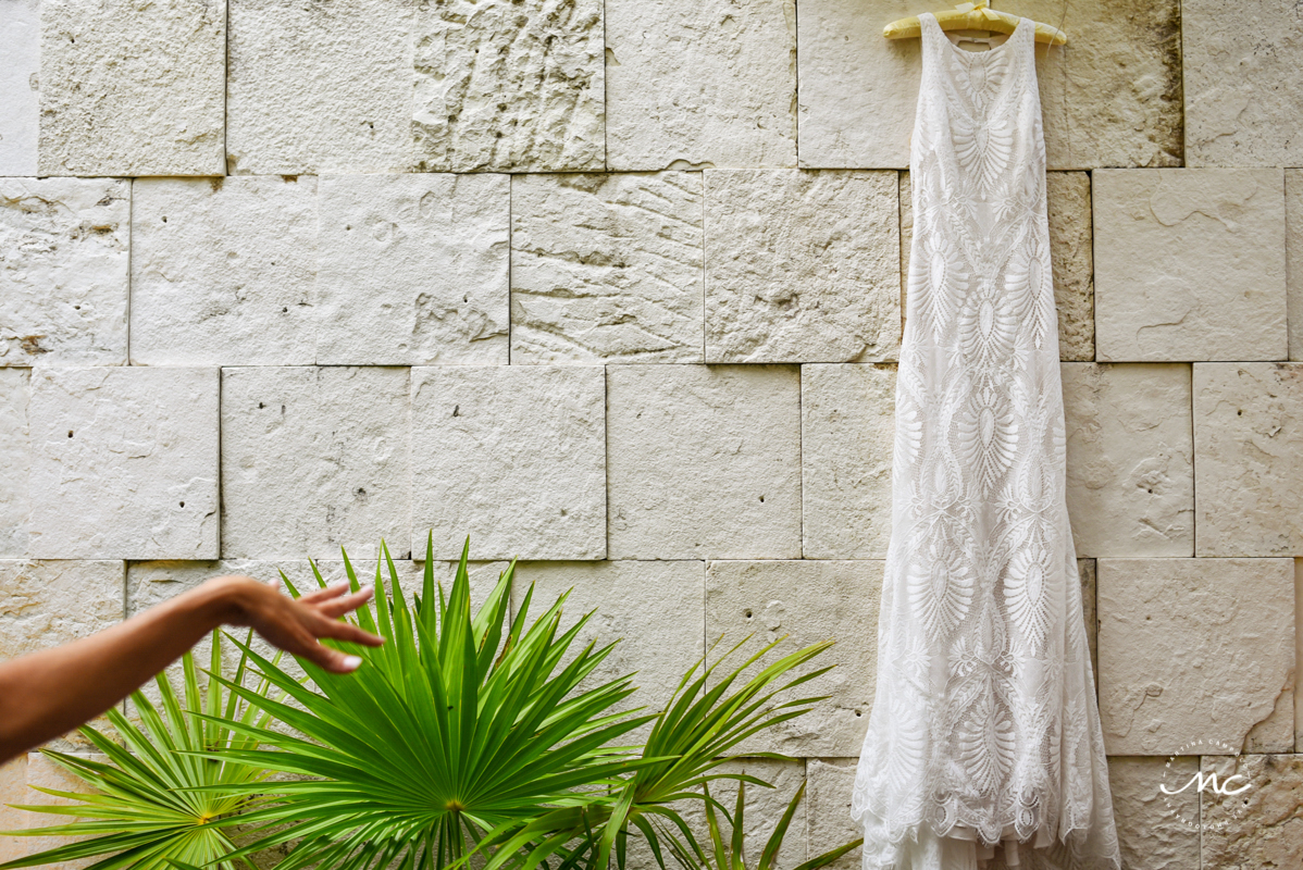 Private Label wedding dress at Blue Diamond Luxury Boutique Hotel, Mexico. Martina Campolo Photography