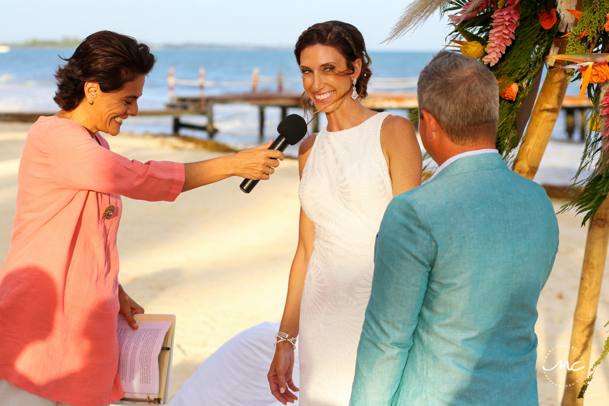 Happy bride at Blue Diamond Riviera Maya Beach Wedding in Mexico. Martina Campolo Photography