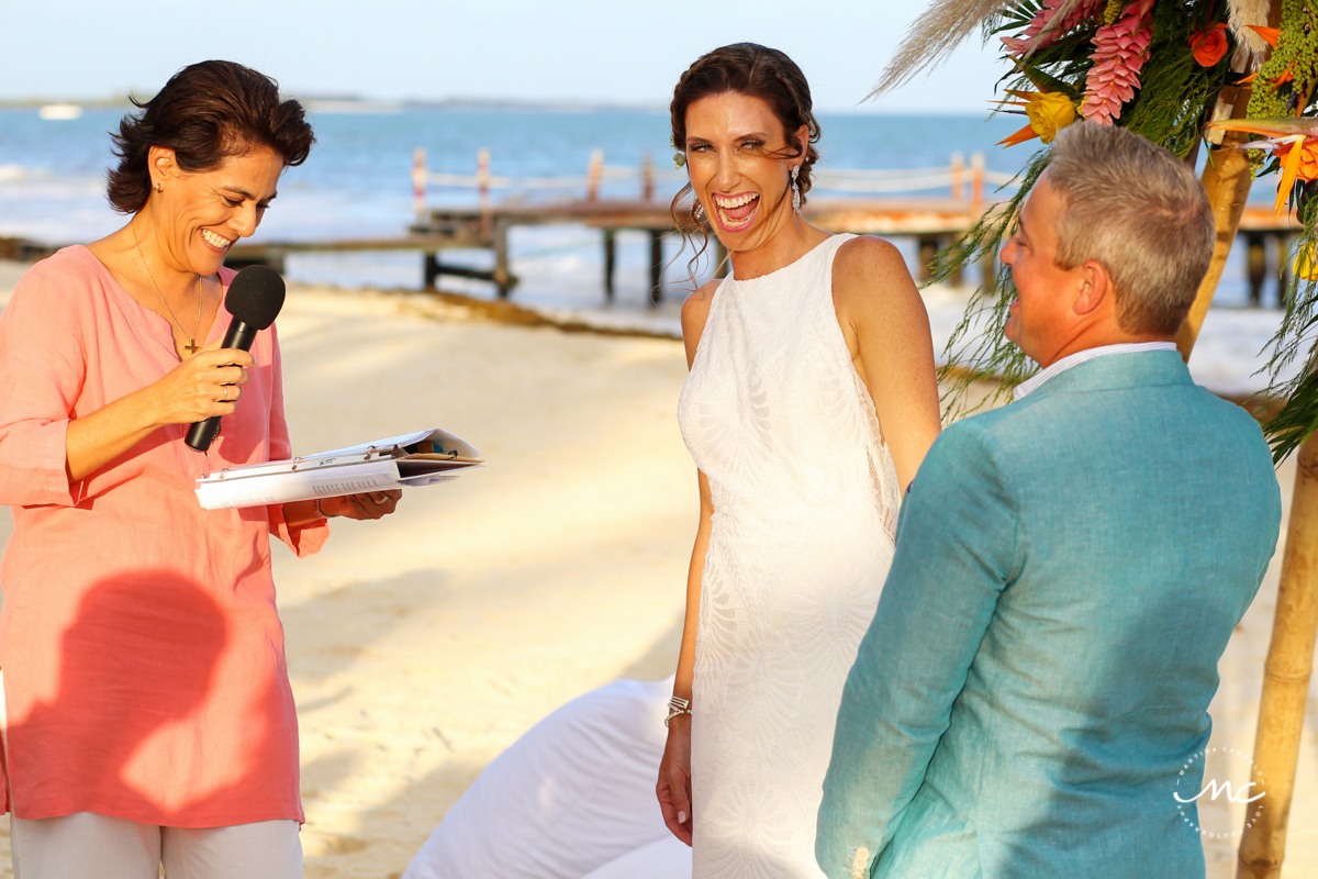 Happy bride during Blue Diamond Riviera Maya Beach Wedding in Mexico. Martina Campolo Photography