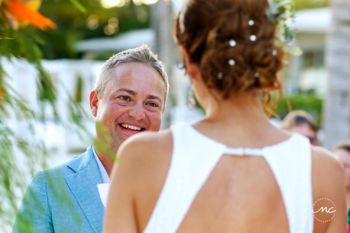 Vows at Blue Diamond Riviera Maya Beach Wedding in Mexico. Martina Campolo Photography