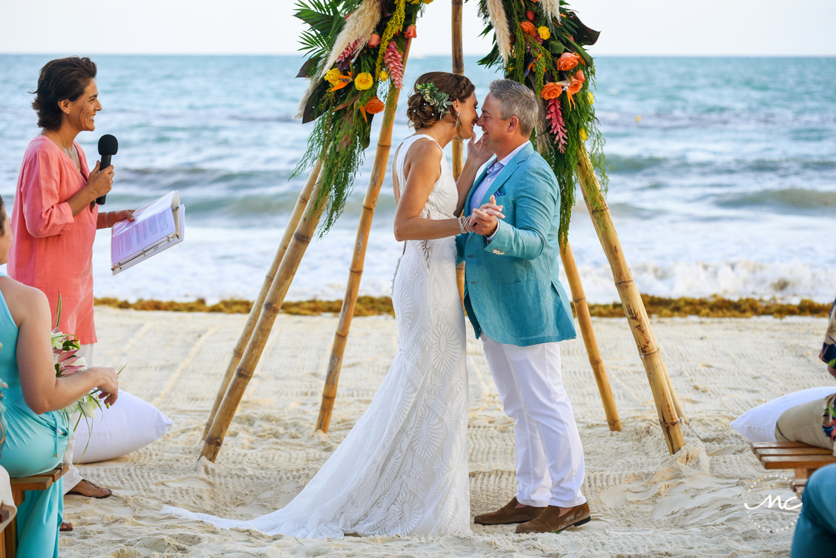 You may kiss the bride. Blue Diamond Luxury Boutique Hotel Wedding in Mexico. Martina Campolo Photography