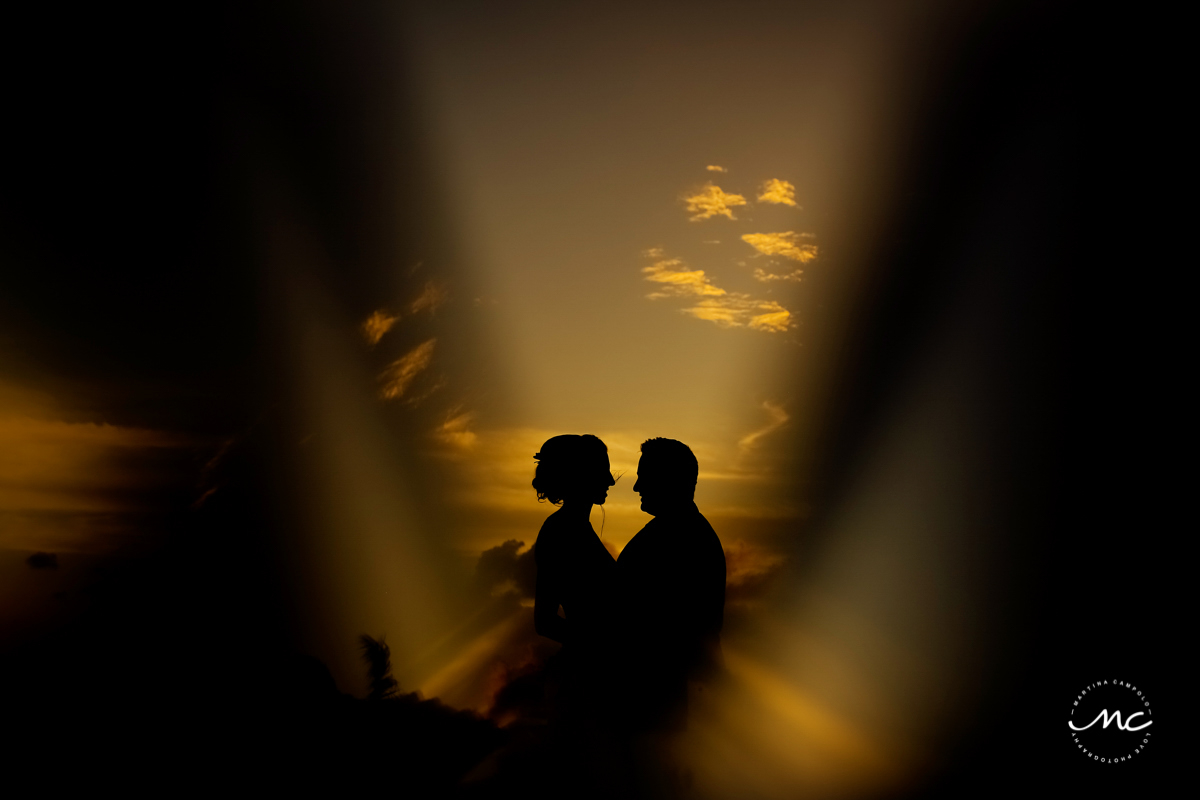 Bride and groom sunset portraits at Blue Diamond Riviera Maya, Mexico. Martina Campolo Photography