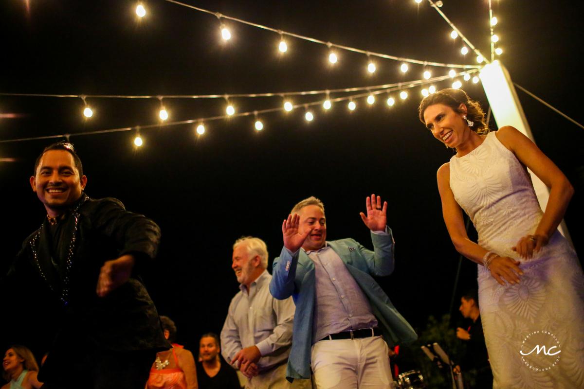 Wedding reception fun at Blue Diamond Luxury Boutique Hotel in Mexico. Martina Campolo Photography