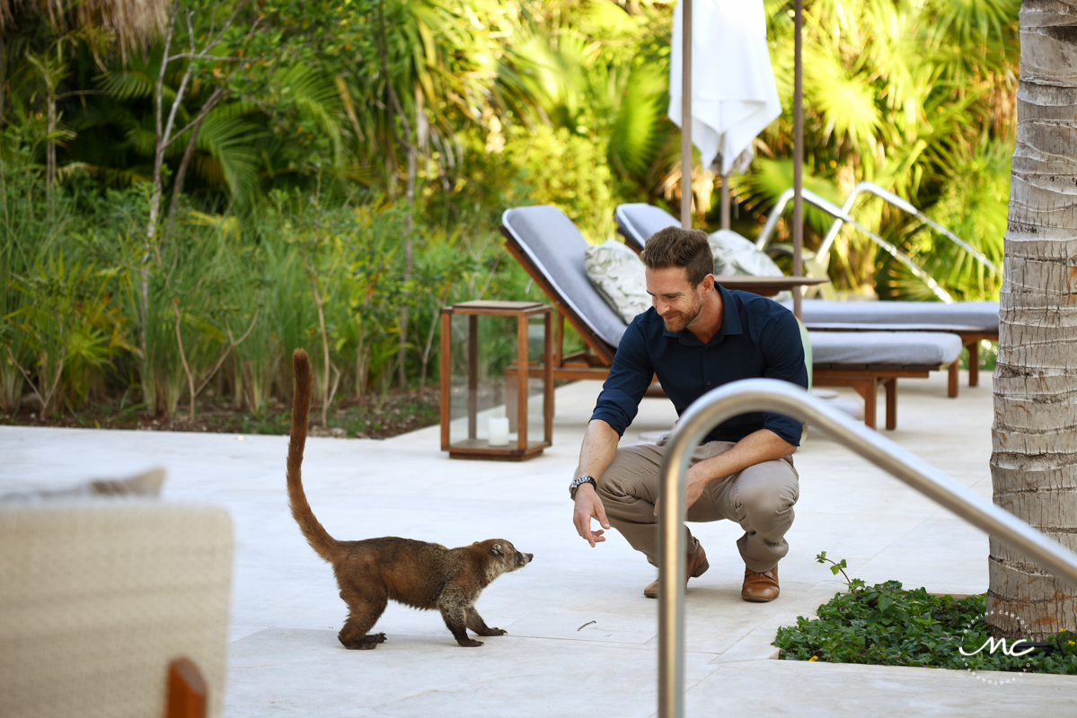 Groom to be greeting a new friend at Chable Maroma, Mexico. Martina Campolo Photography