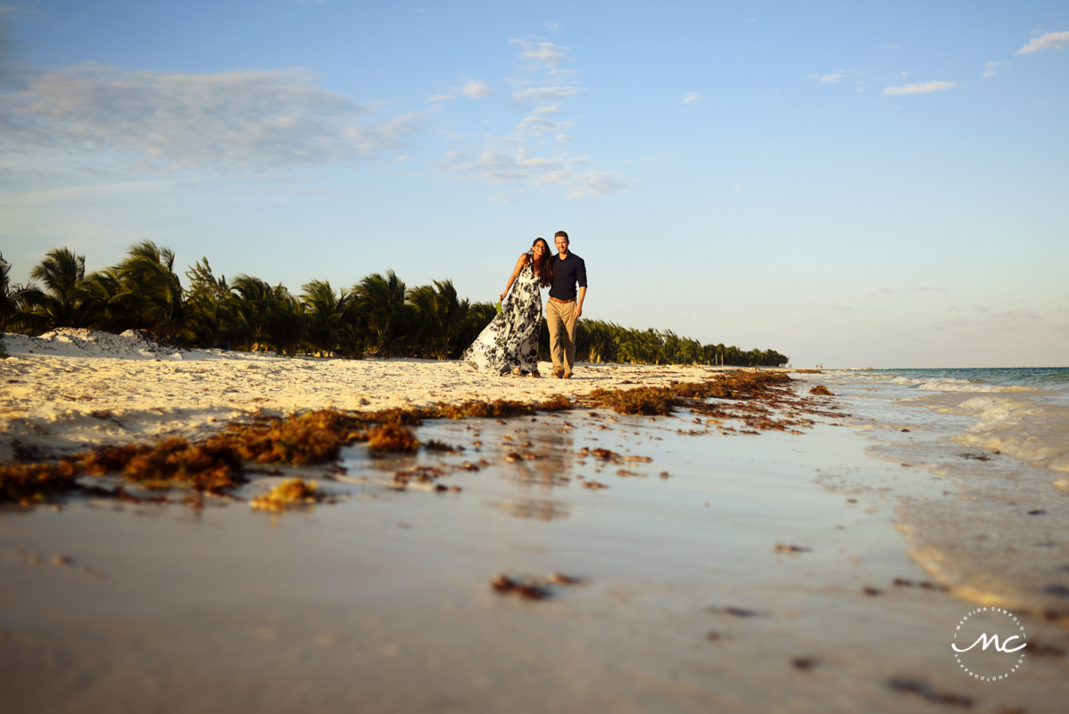 Couple beach portraits by Martina Campolo Riviera Maya Wedding Photography