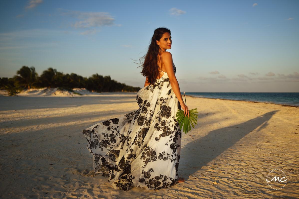 Model in Soho maxi dress at Chable Maroma, Mexico. Martina Campolo Photography
