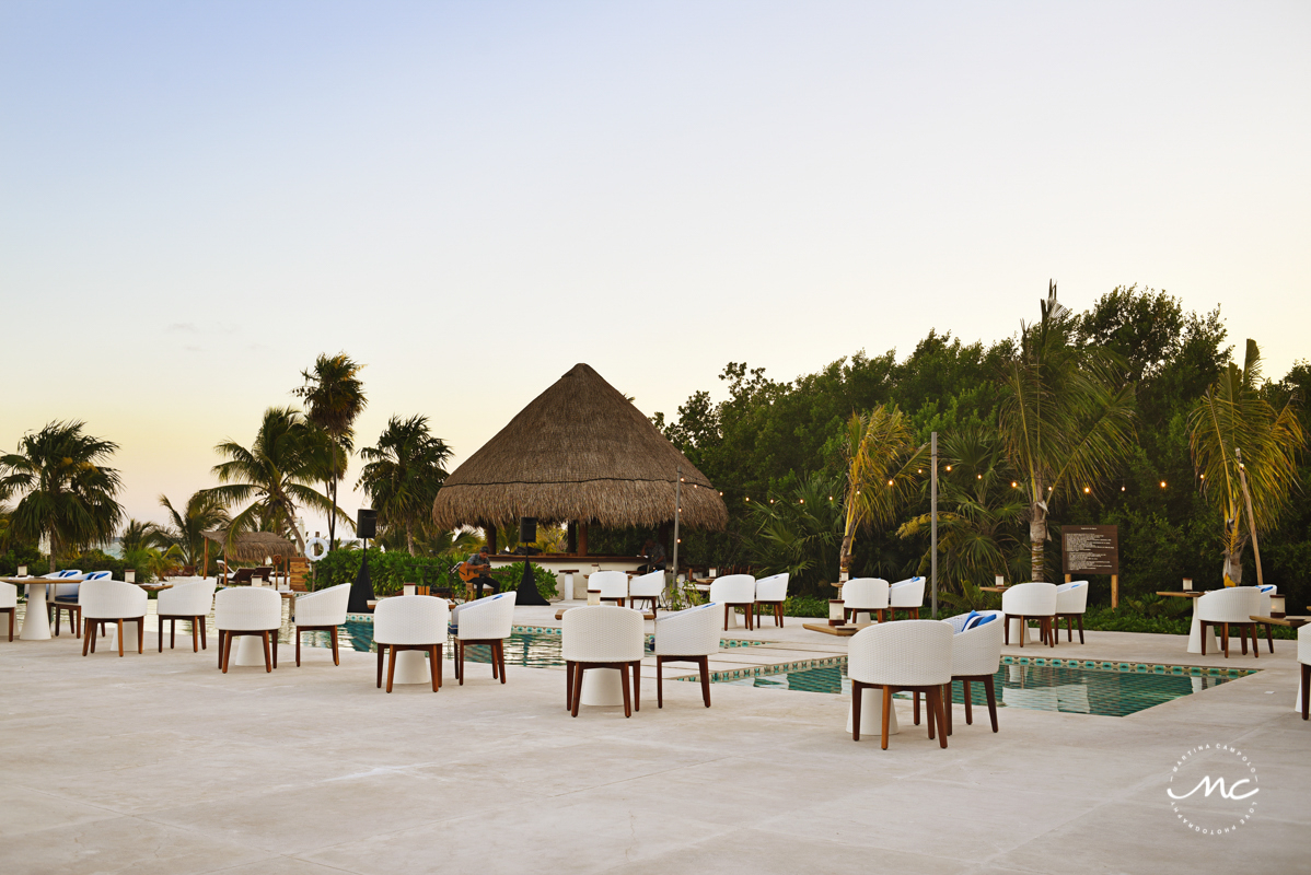 Outdoors dinner setup at Chable Maroma, Riviera Maya, Mexico. Martina Campolo Photography