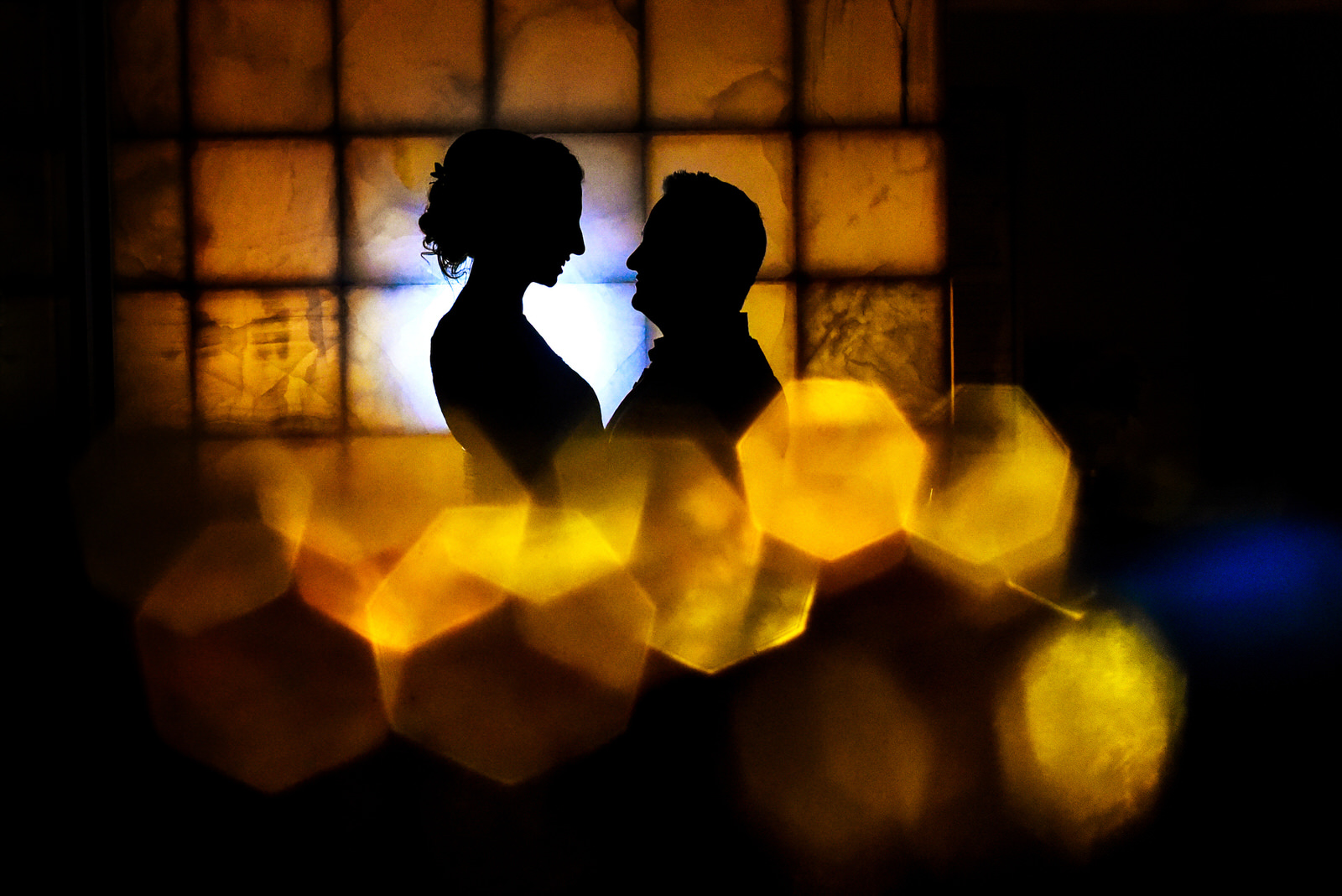 Bride and groom silhouette at Blue Diamond Luxury Boutique Hotel Wedding in Mexico. Martina Campolo Photography