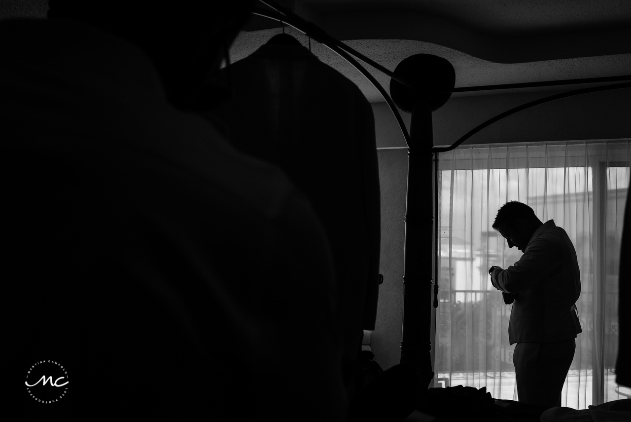 Groom silhouette. The Royal Playa del Carmen Wedding. Martina Campolo Photography