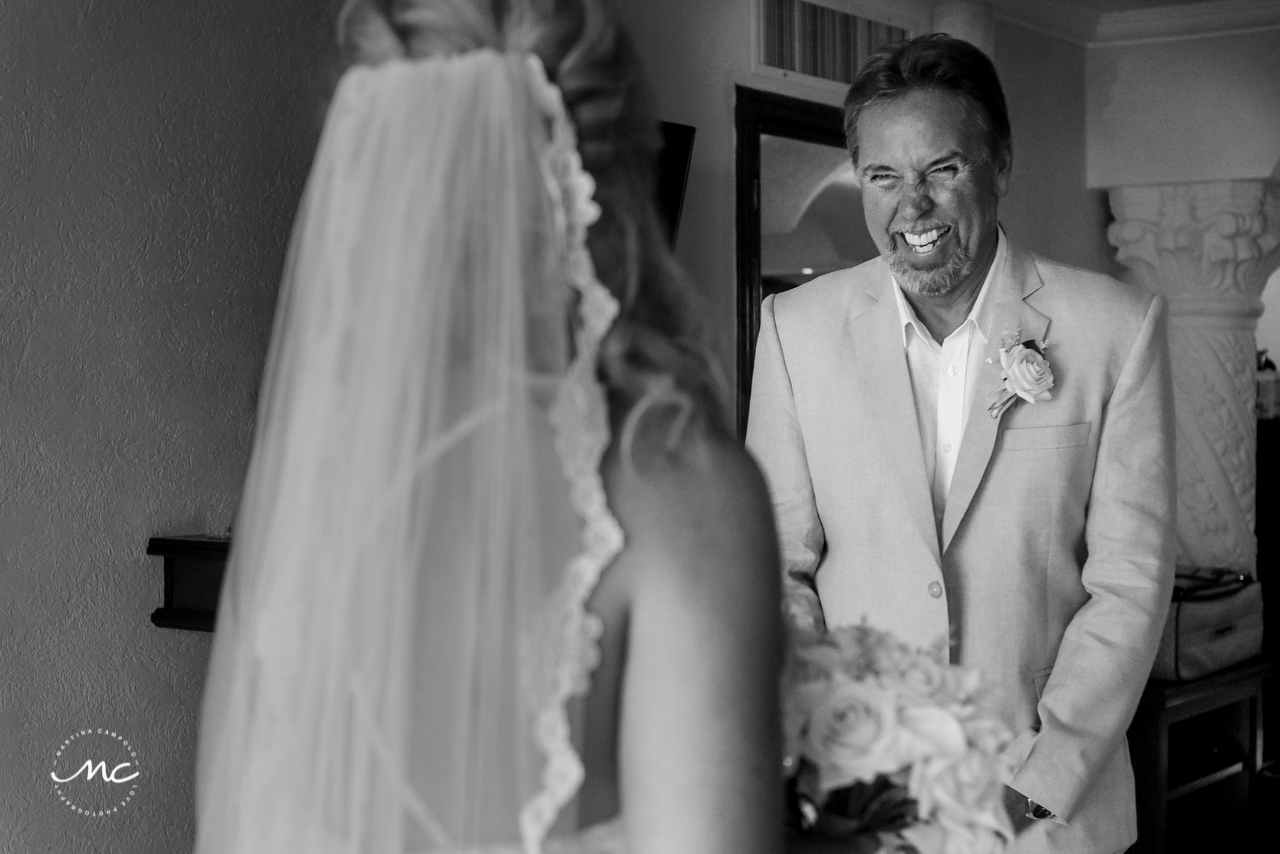 Father of the bride. The Royal Playa del Carmen Wedding. Martina Campolo Photography
