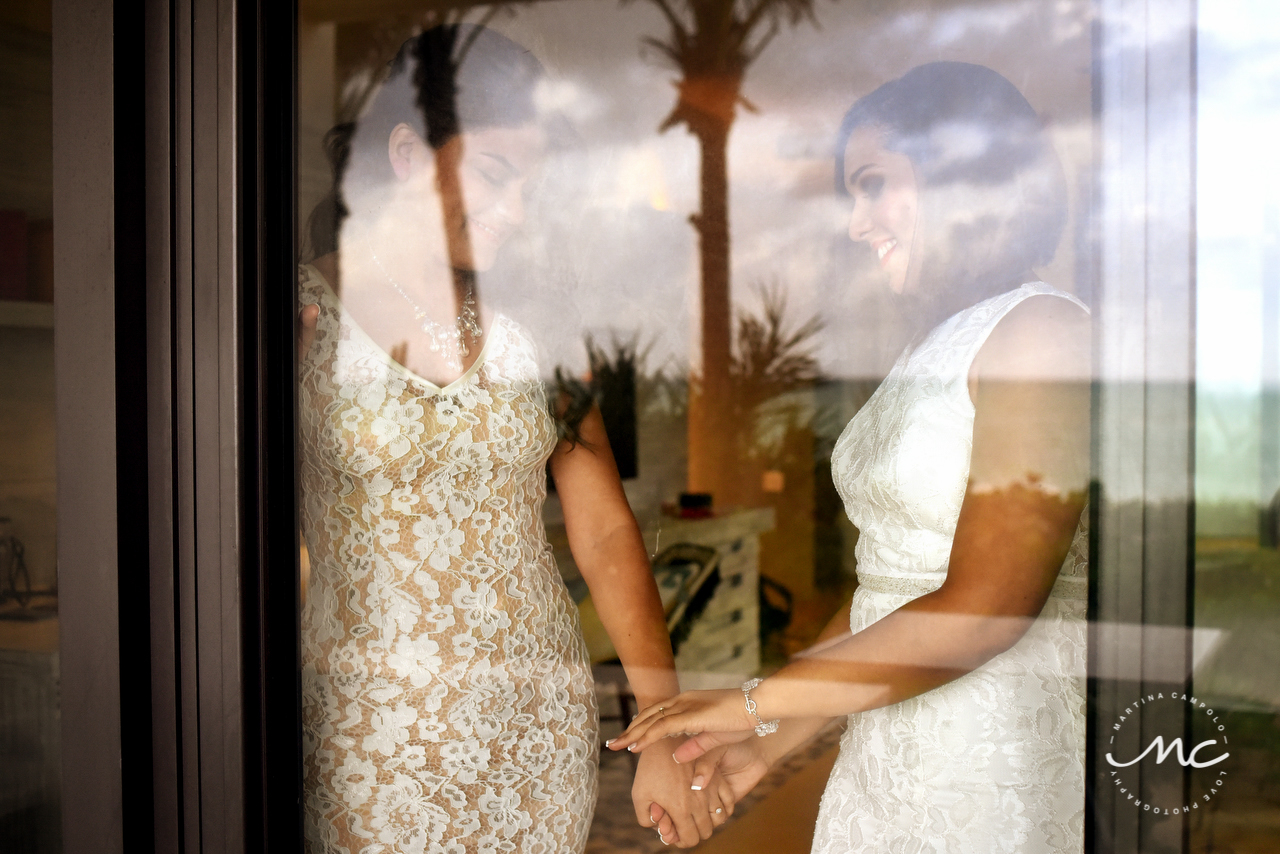 Brides getting ready for their Gay Wedding at Andaz Mayakoba. Martina Campolo Photography