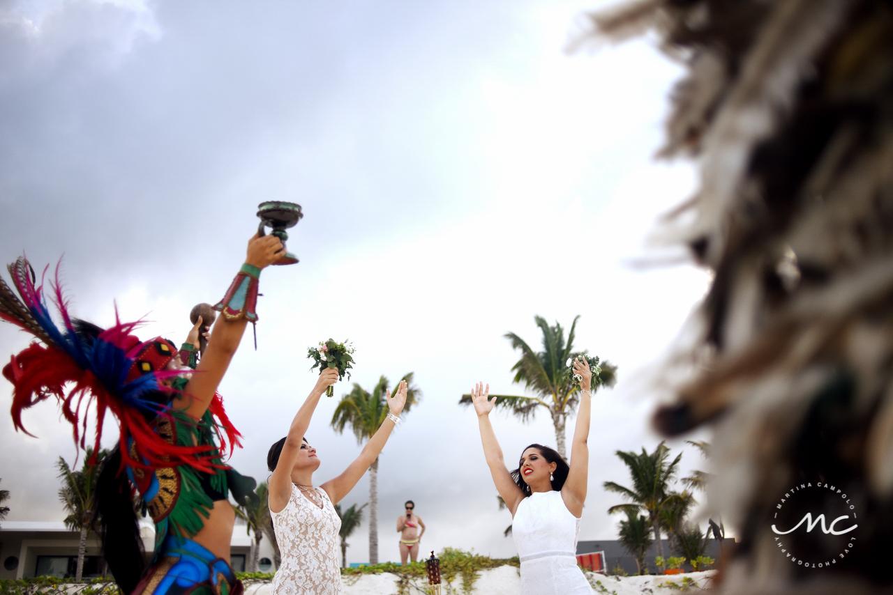 Emotional LGBT Wedding moment at Andaz Mayakoba, Mexico. Martina Campolo Photography