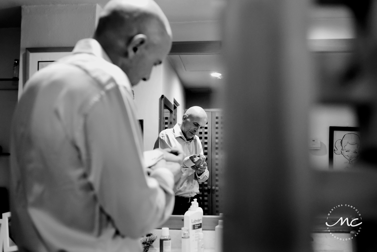 French groom getting ready in black and white. Martina Campolo, Riviera Maya Wedding Photography