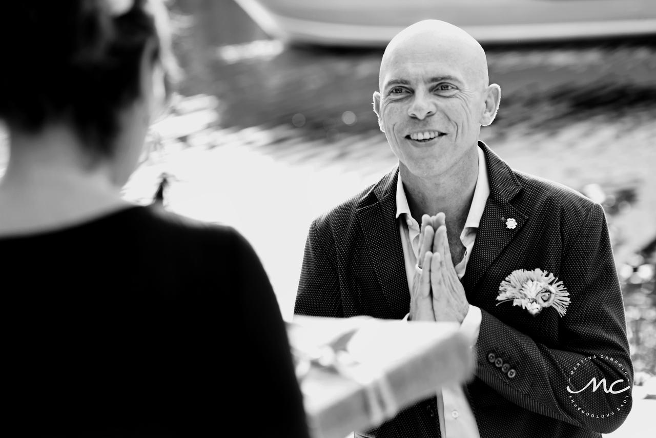Emotional groom receives his present. Puerto Aventuras Wedding by Martina Campolo Photography