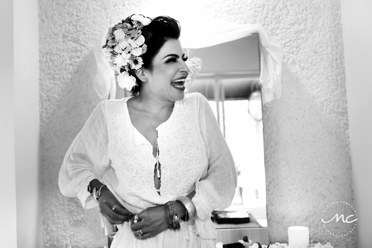Stunning Mexican bride getting ready. Riviera Maya Wedding by Martina Campolo Photography