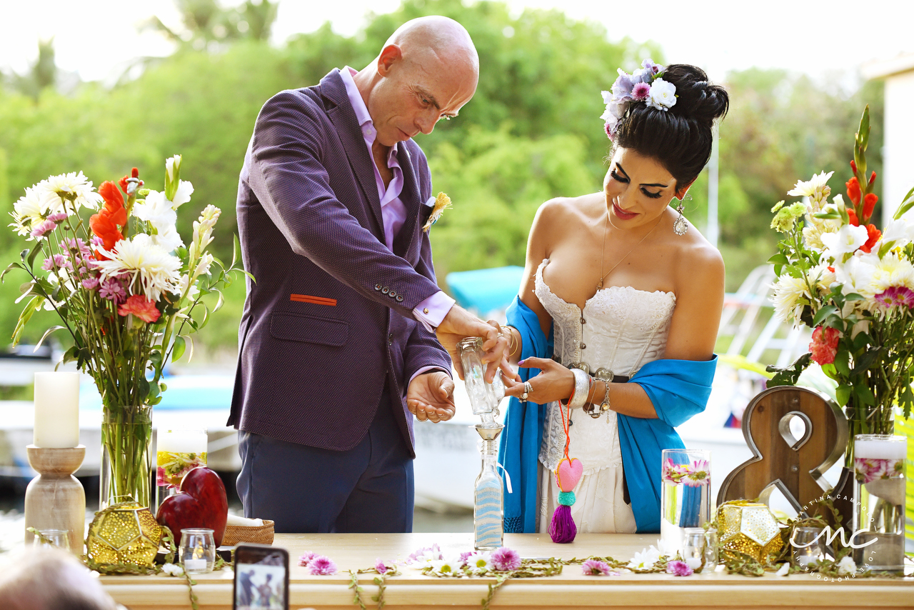 Sand Ceremony moment, Puerto Aventuras Intimate Wedding by Martina Campolo Photography