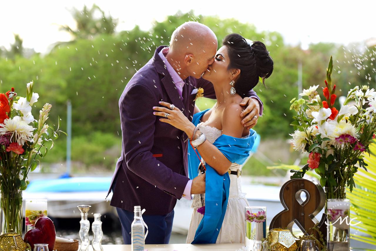 You may kiss the bride! Puerto Aventuras Wedding in Mexico. Martina Campolo Photography