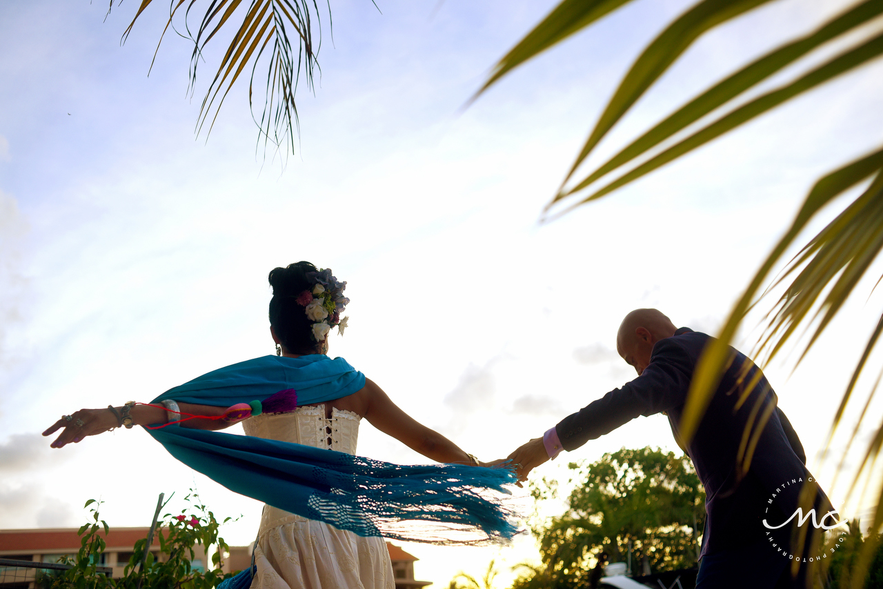 Mexican bride and French groom happy dance. Martina Campolo Photography