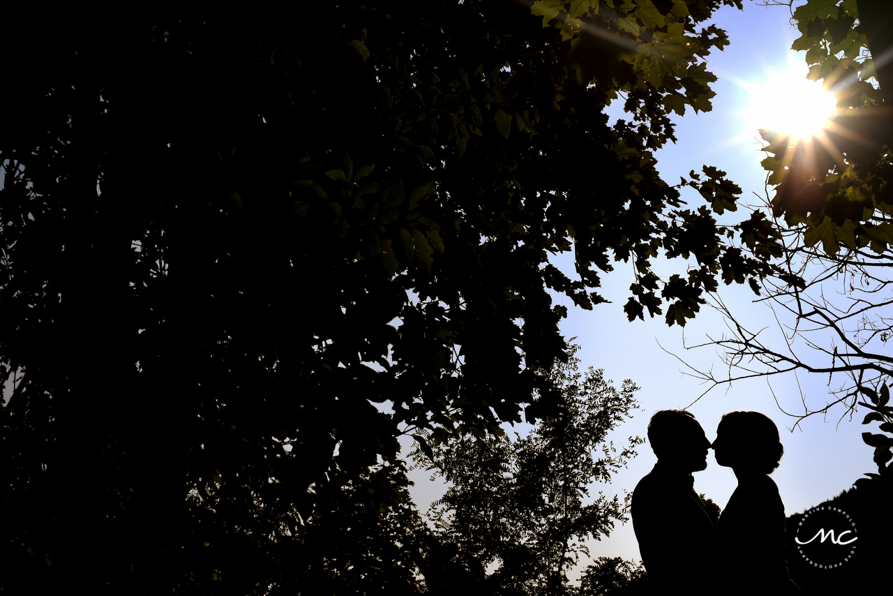 Couple silhouette. Heidelberg Castle Wedding in Germany. Martina Campolo Photography