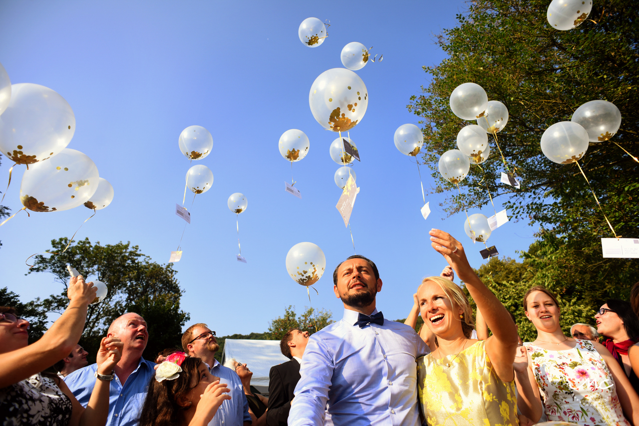 Balloon Release. Wedding in Heidelberg, Germany. Martina Campolo Photography