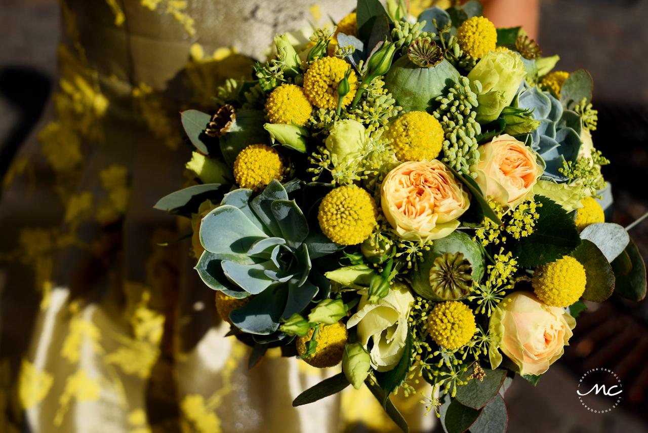 Yellow bouquet. Heidelberg Castle Wedding by Martina Campolo Photography