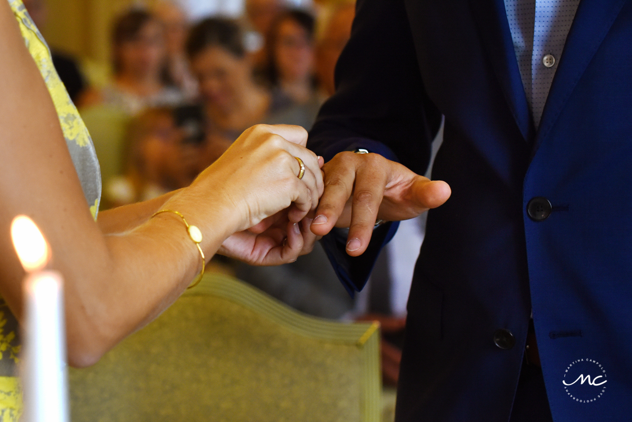 Ring exchange. Heidelberg Castle Wedding in Germany. Martina Campolo Photography