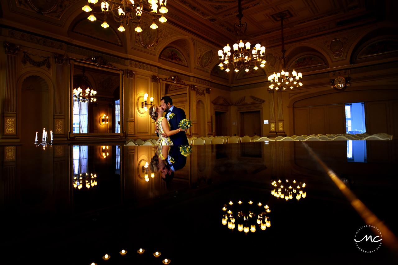 Bride and groom portraits in Heidelberg Castle, Germany. Martina Campolo Wedding Photography