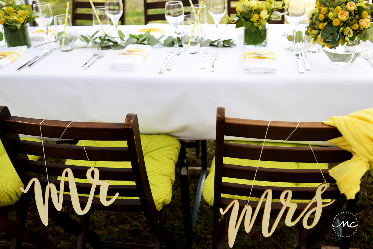 Mr. and Mrs. Chairs. Yellow Wedding at Heidelberg Germany. Martina Campolo Photography