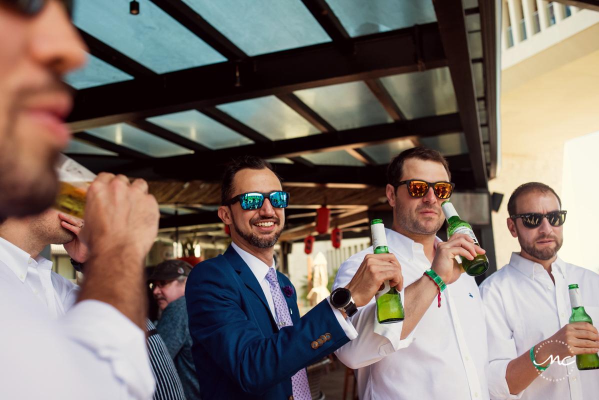 Groom & groomsmen at Grand Hyatt Playa del Carmen, Mexico. Martina Campolo Photography