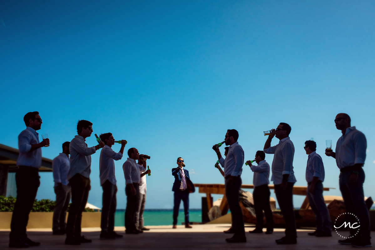 Groom & groomsmen portrait at Grand Hyatt Playa del Carmen, Mexico. Martina Campolo Photography