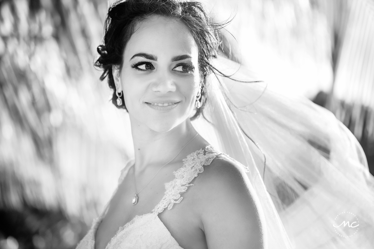 Black & white bride portraits at Blue Venado Beach in Mexico. Martina Campolo Photography