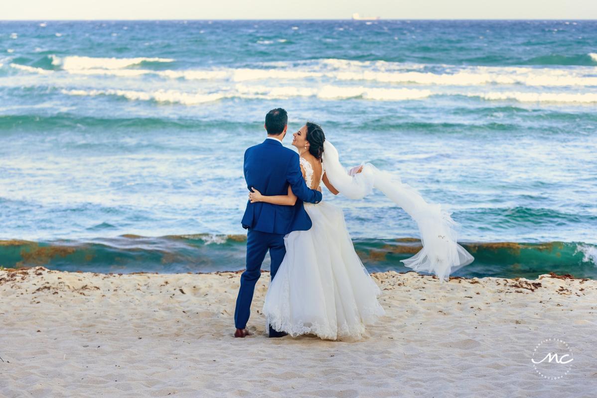 Beach bride and groom portraits at Blue Venado Wedding in Mexico. Martina Campolo Photography