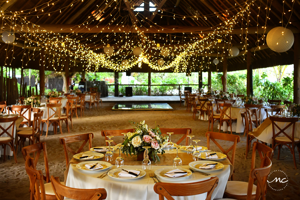 Romantic wedding reception design with string lights at Blue Venado Beach, Mexico. Martina Campolo Photography