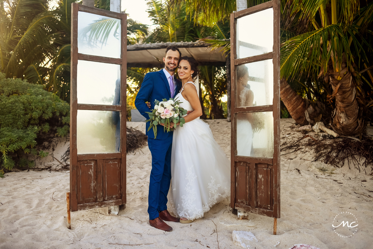Destination bride and groom portraits at Blue Venado Beach Wedding in Mexico. Martina Campolo Photography