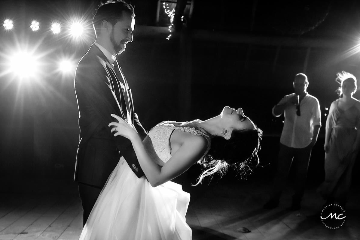 Bride and groom first dance. Blue Venado Beach Wedding in Mexico by Martina Campolo Photography