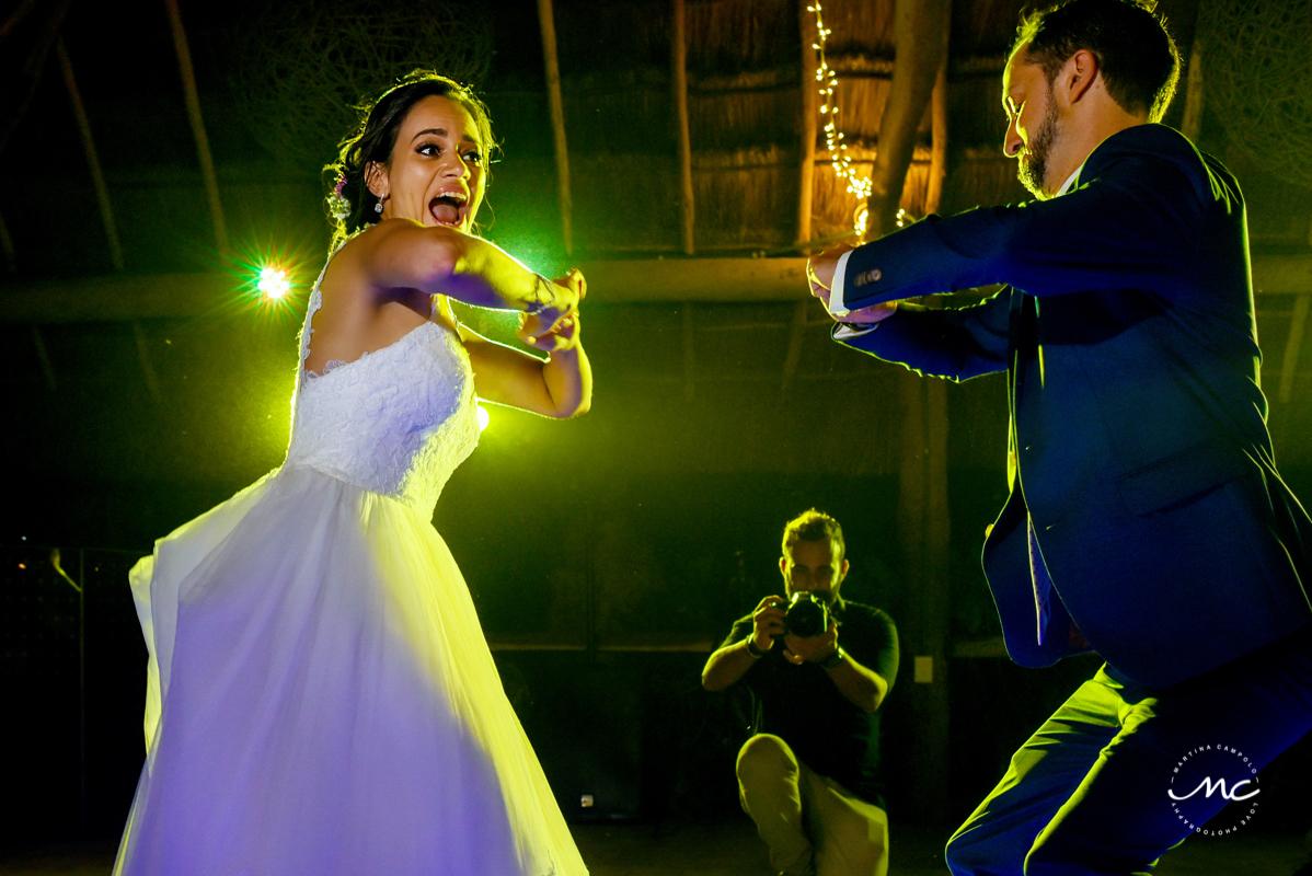 Bride and groom fun dance. Blue Venado Wedding in Mexico by Martina Campolo Photography