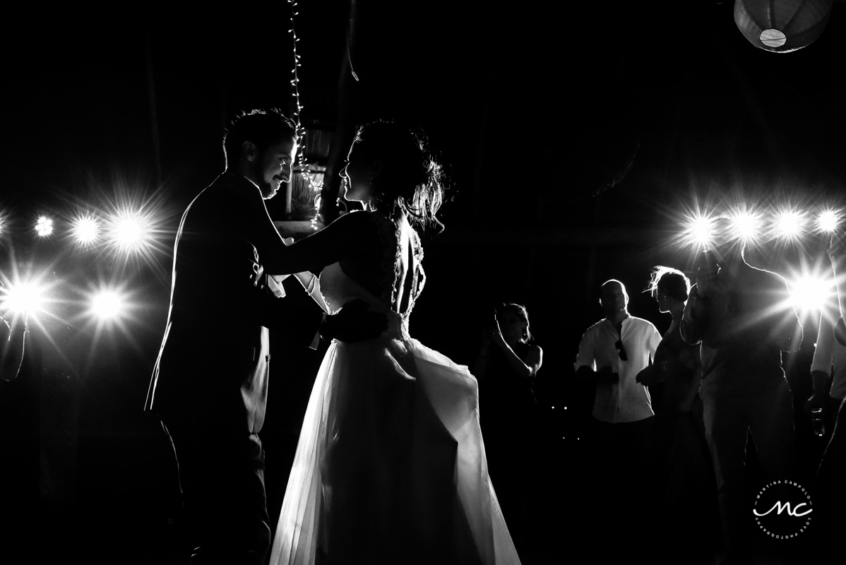 Bride and groom first dance moment. Blue Venado Wedding in Mexico by Martina Campolo Photography