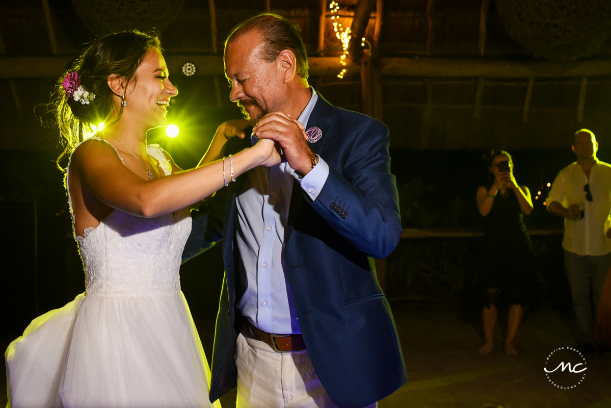 Father of the bride and daughter dance. Blue Venado Wedding in Mexico by Martina Campolo Photography