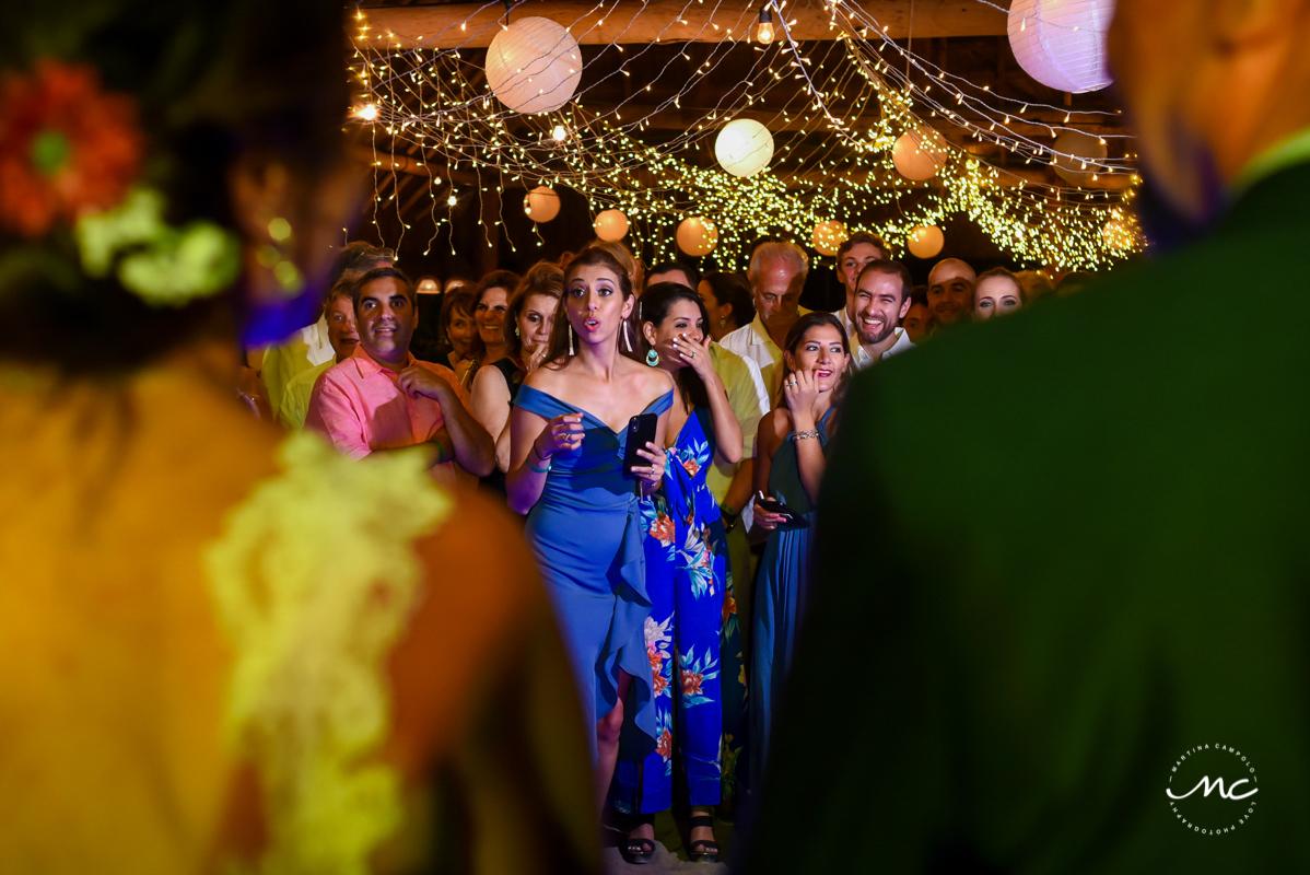 Fun Wedding Reception at Blue Venado Beach in Mexico. Martina Campolo Photography
