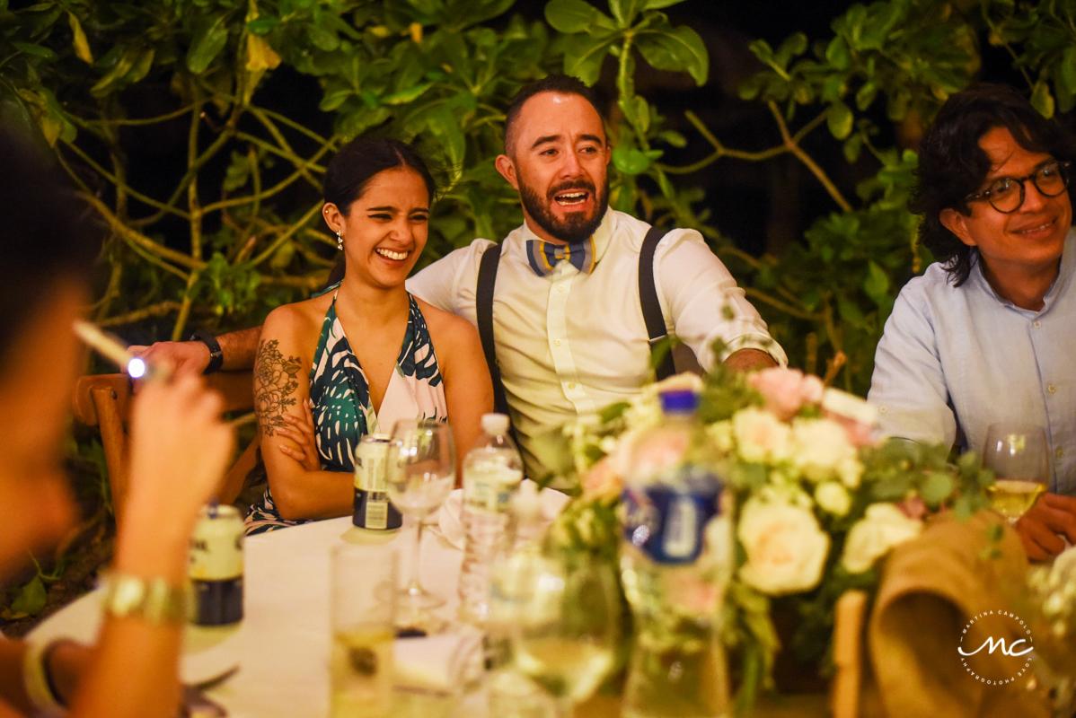 Wedding Reception moment at Blue Venado Beach Club in Mexico. Martina Campolo Photography