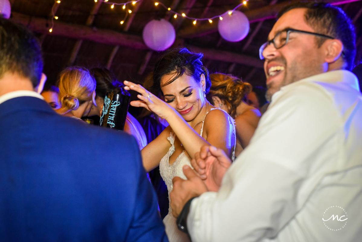 Happy dancing bride at Blue Venado Wedding Reception in Mexico. Martina Campolo Photography