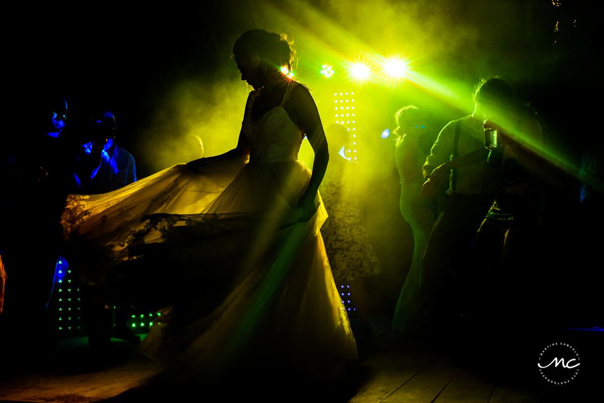 Destination Bride dances at Blue Venado Wedding in Mexico. Martina Campolo Photography