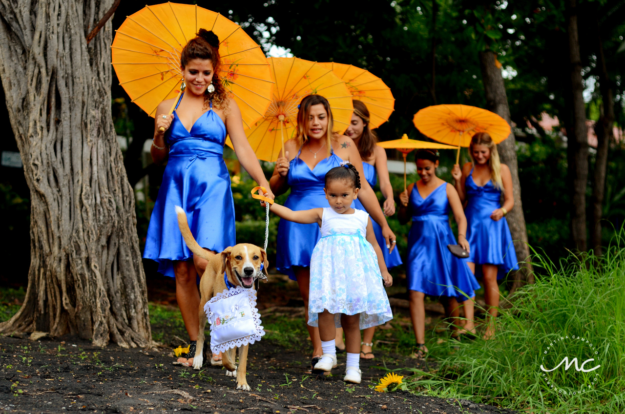 Dog ring bearer and bridesmaids. Playa Hermosa, Costa Rica Wedding. Martina Campolo