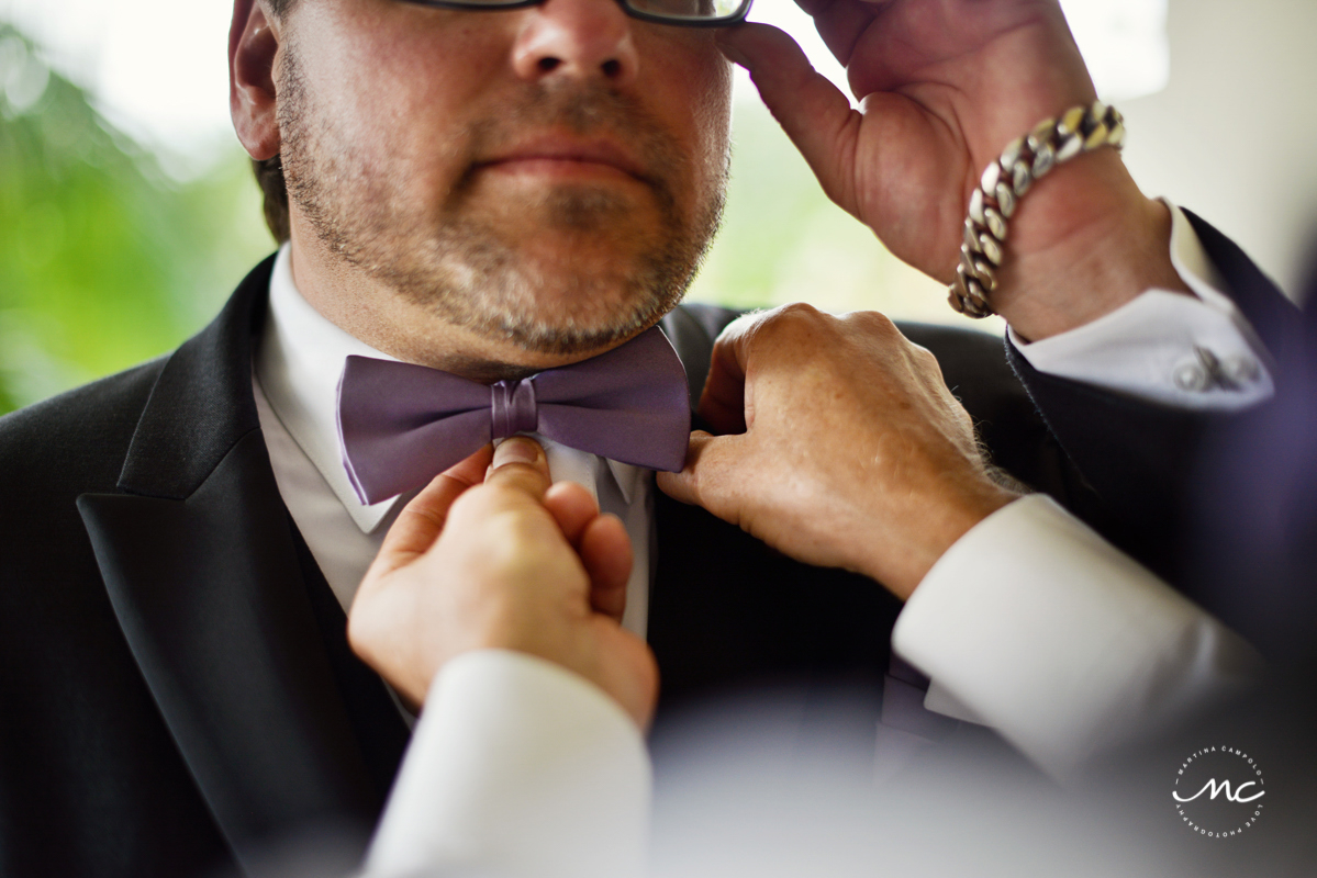 Groom with bow tie at Now Sapphire Riviera Cancun, Mexico. Martina Campolo Photography