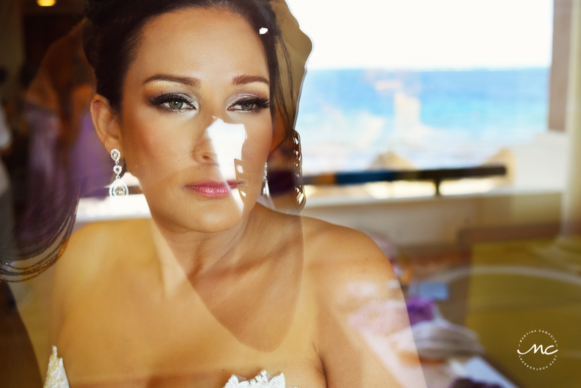 Perfect bridal makeup at Now Sapphire Riviera Cancun, Mexico. Martina Campolo Photography