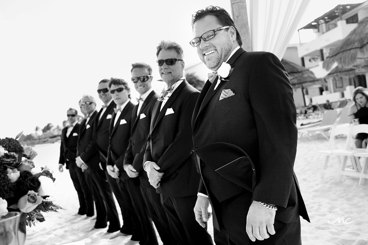 Groom and groomsmen in black and white. Now Sapphire Riviera Cancun wedding by Martina Campolo Photography