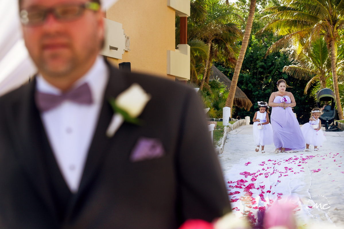 Bridesmaids and flower girls entrance at Now Sapphire Riviera Cancun, Mexico. Martina Campolo Photography