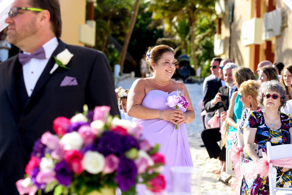 Lilac bridesmaids at Now Sapphire Riviera Cancun wedding by Martina Campolo Photography
