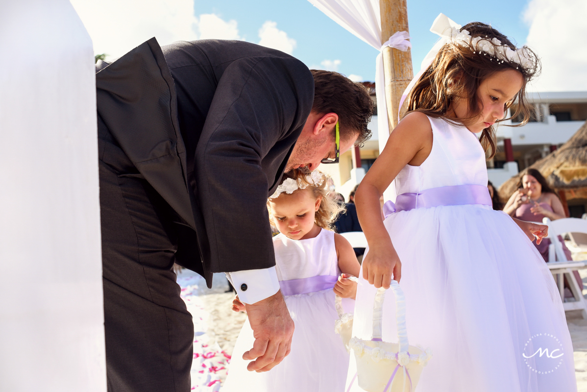 Lilac flower girls at Now Sapphire Riviera Cancun wedding by Martina Campolo Photography